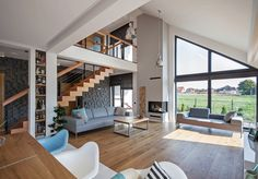 Modern single-family home in Poland. Architects/Builders: DOMY Z WIZJA Design Studio Dream Home Design, Home Interior Design, Interior Architecture, House Stairs, Facade House, Modern House Facades, Modern Farmhouse Plans, Cabin Design, Design Case