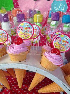 Paal Uh. Mesa de Postres : Snack's : dulces : botanas : candy bar : Sweet : Lalaloopsy  :  dessert table : decor : celebración : party girl : idea : cute : birthday : helados : ice cream :
