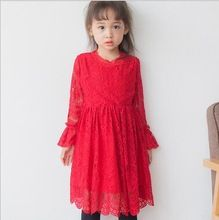Korean Style Baby Girls Crochet Lace Dresses Girl Princess tutu Dress Kids Girl Autumn Party Dress 2016 Babies Christmas Clothes(China (Mainland))