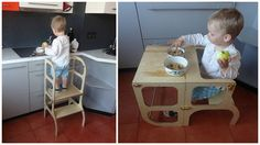Learning tower / step stool for toddler which can be easily transformed to table and chair.  After helping mom in the kitchen to peel potatoes and