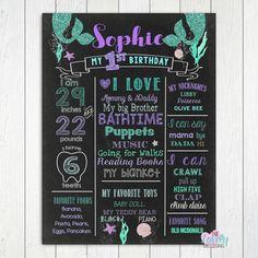 Mermaid First Birthday Chalkboard Mermaid Chalkboard Sign