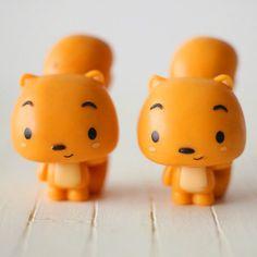 2 pcs Rubber Decoden Charm Cute Khaki Squirrel (4.3CM) OT047