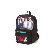 One Direction I <3 1D Glitter Backpack | Claire's ($30) ❤ liked on Polyvore featuring bags, backpacks, one direction, accessories, backpack, 1d, claire's, glitter backpack, glitter bag and rucksack bag