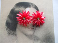 EARRINGS 1950's PLASTIC vintage red flower clips by slaphappygoose, $9.95