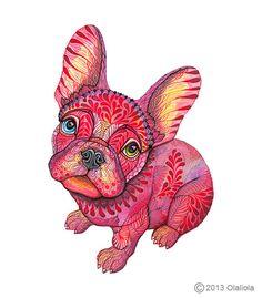 French bulldog Raspberry Frenchie dog size 8x10 inch por TevaKiwi