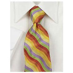 Wavy Stripe Silk Tie