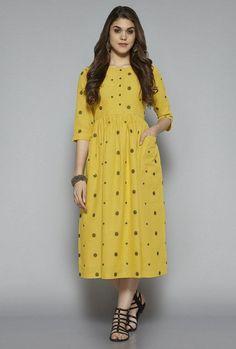 a4aea988cf288 Buy Bombay Paisley by Westside Yellow Polka Dot Dress for Women Online    Tata CLiQ