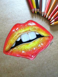 New 3-hour coloured pencil drawing (Prismacolors) of lips on brown paper -Taylor Brooker..