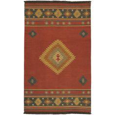 Hand-woven Burgundy Southwestern Aztec Acero Wool Rug (3'6 x 5'6)