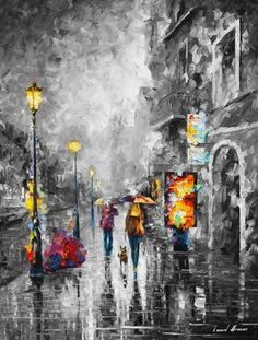 Rain Painting City Artworks Cityscape Art Work On Canvas By Leonid Afremov - Melody Of Passion Afremov is a world-know name that stands for remarkable talent and skill. His city artworks like this rain painting will certainly take your breath away. Fall Canvas Painting, Rain Painting, Oil Painting Flowers, Cityscape Art, Art Abstrait, Palette Knife, Abstract Wall Art, Abstract Portrait, Painting Abstract
