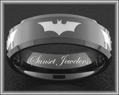 Batman Black Tungsten Wedding Ring for Father\'s Day.