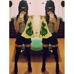 Pin for Later: 63 Insanely Cheap DIY Sexy Halloween Costumes Burglar Bank robber done right. What you need: It's all about the black. Make sure everything from your hat to bottoms is dark.