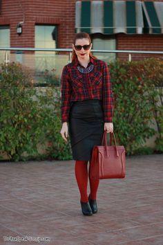 Vintage leather & tartan - outfit - DoYouSpeakGossip.com