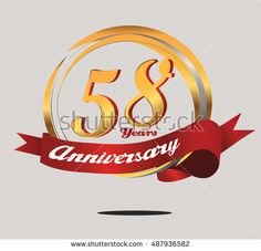 58 years anniversary golden logo with red ribbon and ring composition. anniversary logo for birthday, celebration, wedding, and party