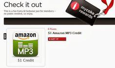 #Amazon #Freebie: $1 #MP3 Credit from #MyCokeRewards.