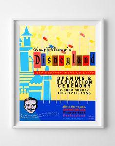 Vintage Disneyland Poster Print Happiest Place by InkistPrints