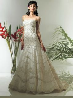 Organza Strapless Embroidered Bodice Floor-Length A-line Wedding Dress