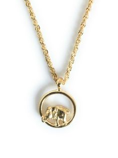 Necklace Good Luck Elephant Elephant Pendant Charm 20 Rope Chain Gold Plated - Yellow Gold Plated Chain - Ideas of Yellow Gold Plated Chain #YellowGoldPlatedChain
