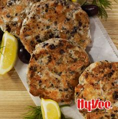 Add a little smokiness to these Salmon Cakes with Olives, Lemon and Dill by grilling them! Simply heat a large cast iron skillet (or other grill-safe pan) and cook as directed.