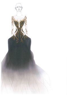 A Sarah Burton for Alexander McQueen sketch for a female costume for the new ballet choreographed by Liam Scarlett, which will have its world premiere at the New York City Ballet Fall Gala.