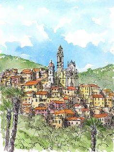 Cervo Italy art print from original watercolor painting Watercolor Drawing, Watercolor Landscape, Watercolor Illustration, Watercolor Paintings, Watercolor Sketchbook, Watercolors, Watercolor Architecture, Building Illustration, Italy Art