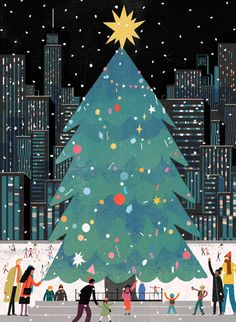 Christmas Tree in the City illustration Stick With Me Chocolate — Lisk Feng Christmas Poster, Noel Christmas, Vintage Christmas, Christmas Quotes, Christmas Pictures, Christmas Decor, Christmas Wreaths, Holiday Iphone Wallpaper, Merry Christmas Wallpaper