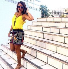 Look étnico, yellow look, saia estampada