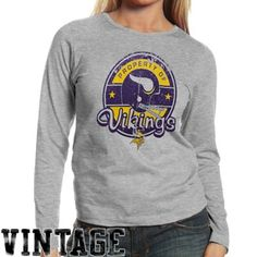 f8bb2c41b Reebok Minnesota Vikings Ladies Glorified Decade Long Sleeve T-Shirt - Ash