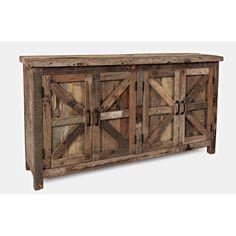 Credenza Decor, Rustic Sideboard, Solid Wood Sideboard, Rustic Cabinets, Jofran Furniture, Hardwood Furniture, Furniture Decor, Primitive Furniture, Reclaimed Wood Furniture