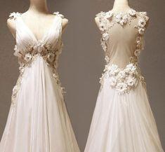 Vintage Formal Chiffon Gowns | ... Backless Organza Deep V Neck Chiffon Evening Prom Dress on Wanelo