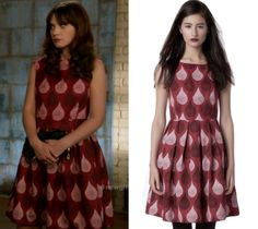 Jess wore this red teardrop print fit and flare dress in tonight's episode of New Girl