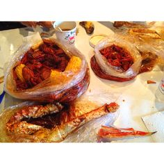 The Boiling Crab - King Crab, Snow Crab, 3lbs Crawfish, lb of sausage, corn, and gumbo = dirty hands and mouths.
