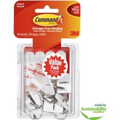 Command Small Wire Hooks Value Pack, White, 14 Hooks, 24 Strips