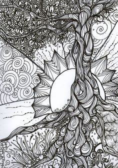 Tree of Life Zentangle.will use this idea for my next Zentangle ispiration! Abstract Coloring Pages, Colouring Pages, Adult Coloring Pages, Coloring Books, Coloring Sheets, Adult Colouring In, Free Coloring, Arte Linear, Mandalas Drawing