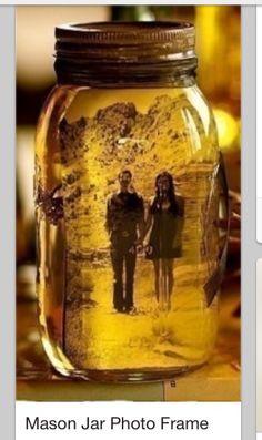 Mason jar photo frame