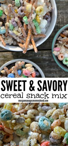 This sweet and savory cereal snack mix is sure to please everyone - mix in all of your favorites, stir in some white chocolate and cool to create your new favorite snack! Healthy Snacks For Kids, Easy Snacks, Snacks Ideas, Summer Snacks, Healthy Salads, Lunch Ideas, Cereal Recipes, Snack Recipes, Recipe Treats