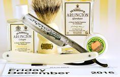 "Dr. Jon's Savannah Sunrise shave soap, Simpson badger brush, Schulze 6/8"" ""Friday"" straight razor, D.R. Harris Arlington aftershave and cologne, December 16, 2016.  ©Sarimento1"