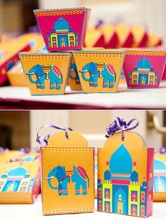 Cadeaux des invités - Boites de dragées/douceurs orange & fushia