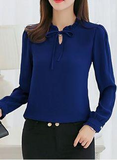 Blouses for women – Lady Dress Designs Blouse Styles, Blouse Designs, Blouse Dress, Blue Blouse, Business Outfits, Work Attire, Work Fashion, Latest Fashion, Women's Fashion