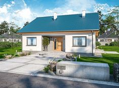 Projekt domu Tanis 98,96 m2 - koszt budowy 205 tys. zł - EXTRADOM Bungalow House Design, Small House Plans, Home Fashion, Diy And Crafts, Garage Doors, Home And Garden, How To Plan, Mansions, House Styles