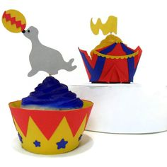 Cupcake Wrappers AND Toppers CIRCUS set of 24  by cakeadoodledoo, $23.00