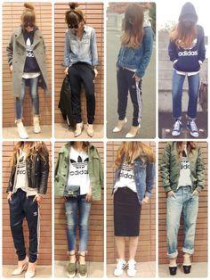 adidasのタンクトップ「オリジナルス タンクトップ [RUNNING TANK]」を使ったmisaのコーディネートです。WEARはモデル・俳優・ショップスタッフなどの着こなしをチェックできるファッションコーディネートサイトです。 Japan Fashion, Daily Fashion, Love Fashion, Korean Fashion, Womens Fashion, Warm Outfits, Casual Fall Outfits, Cool Outfits, Sneakers Fashion Outfits