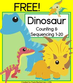 FREE Dinosaur counting and sequencing cards, plus an addition mat and recording…