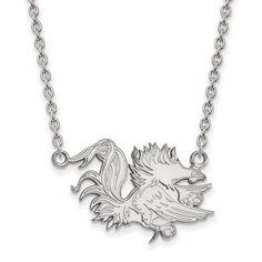 10kw White Gold LogoArt University of South Carolina Large Pendant w/Necklace 1W055USO-18