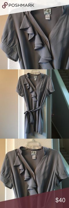 """New Listing! Anthropologie Tabitha Tunic Stunning  100% silk Anthropologie Tabitha ruffle shirt dress/tunic. Excellent condition- size 12- 19""""across chest and 31"""" long. Anthropologie Tops Tunics"""