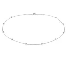 2d0353c3a3652 Fancies by the Yard Cushion-Cut Bezel Diamond Necklace in 18k White Gold (2  ct. tw.)