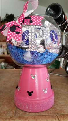 "Clay Pot Candy Dish Hot pink, Disney themed filled with ""peprrmint patty"" for Mrs. Patty. Great gift for any occasion and all ages."