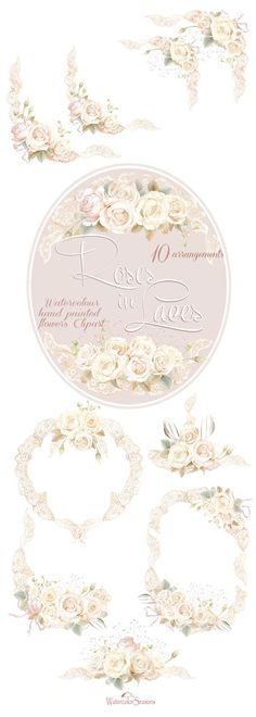 Watercolour Clipart Collection White Roses in Laces