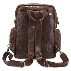 Image of Retro Backpack Men And Women Universal LeatherMountaineering Series Casual Shoulder Bag X423
