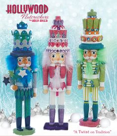 Kurt S. Adler Nutcrackers -- Beautiful, original and unique! There's a plethora of designs: from traditional to coastal to glam to down right unique!!  (ie; Elvis, the Pope, Shakespeare...)